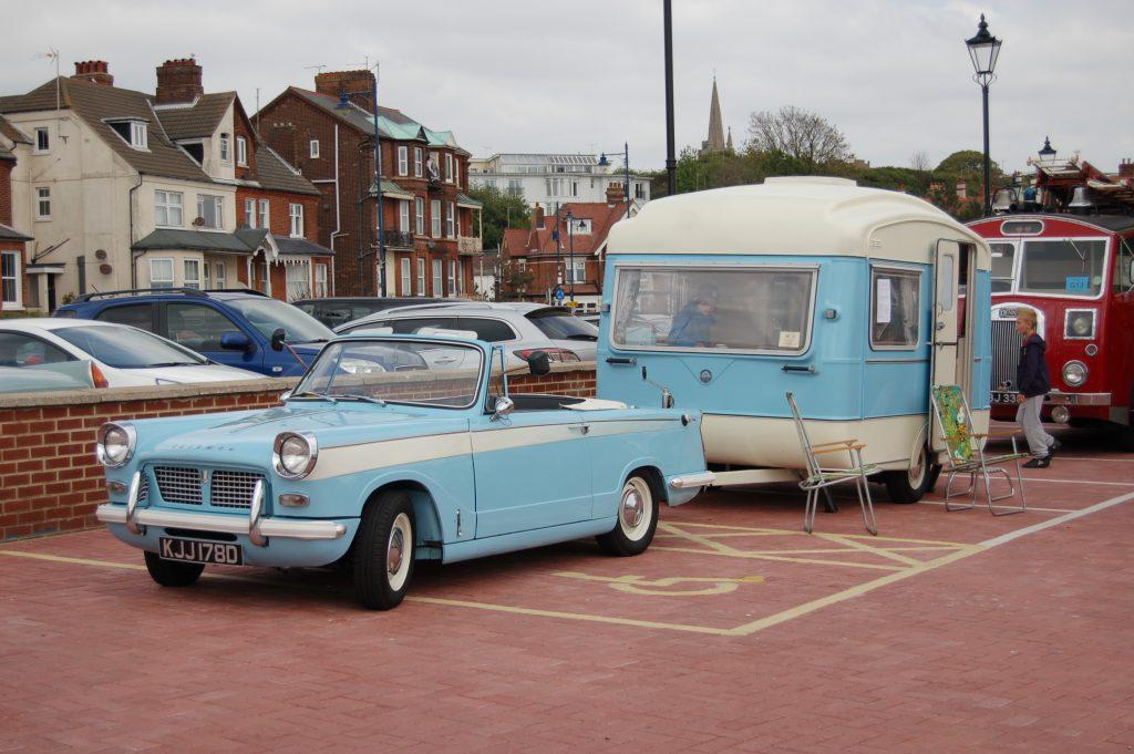 Triumph Herald with Caravan