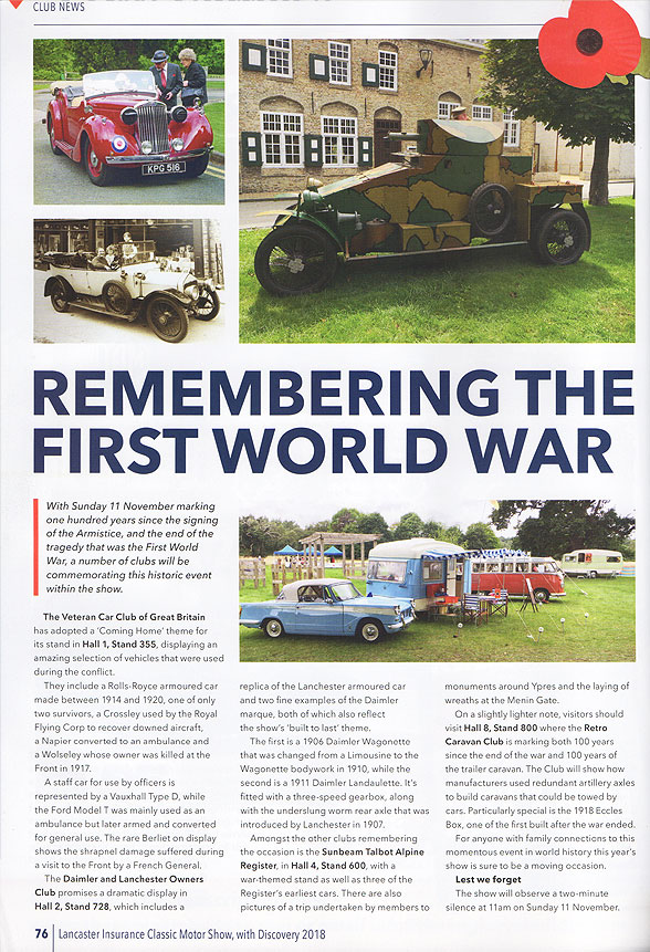 NEC Classic Car Show programme with Triumph Herald