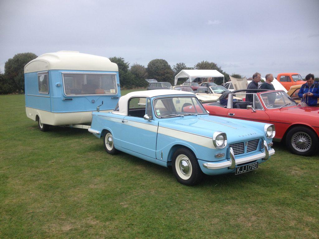 Viking Fibreline Caravan and Triumph Herald 2000 tow car