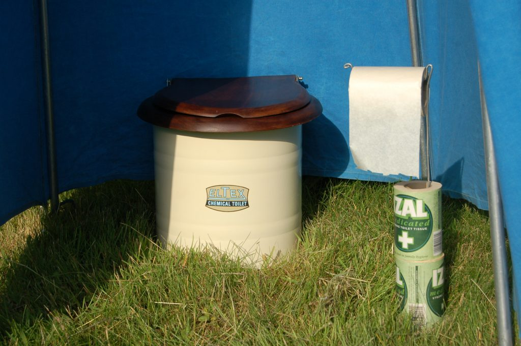 Eltex Camping toilet and Izal Medicated toilet paper.