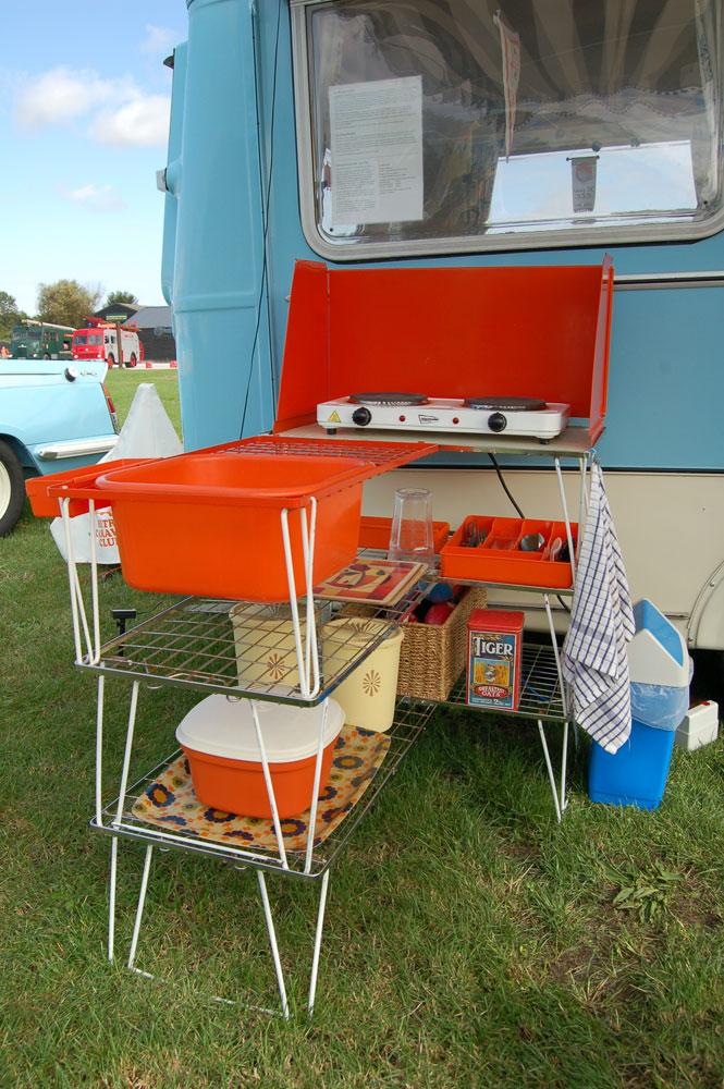 1970s orange camping kitchen unit