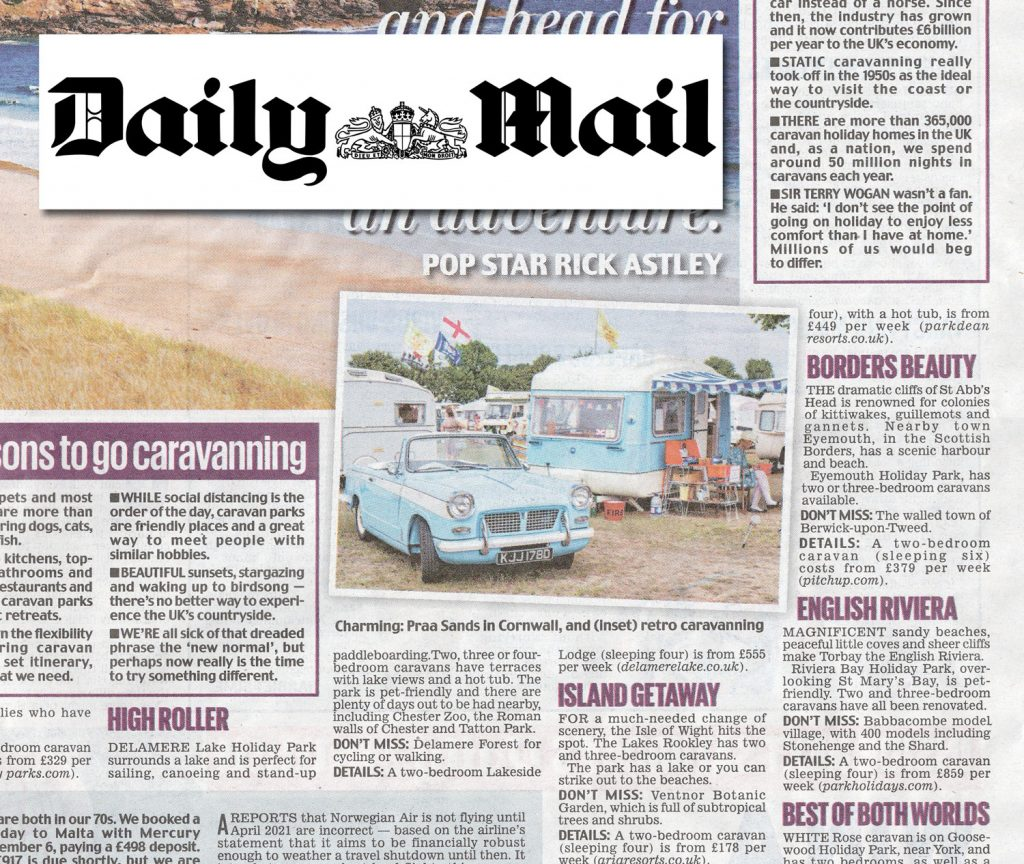 Triumph Herald and caravan in Daily Mail