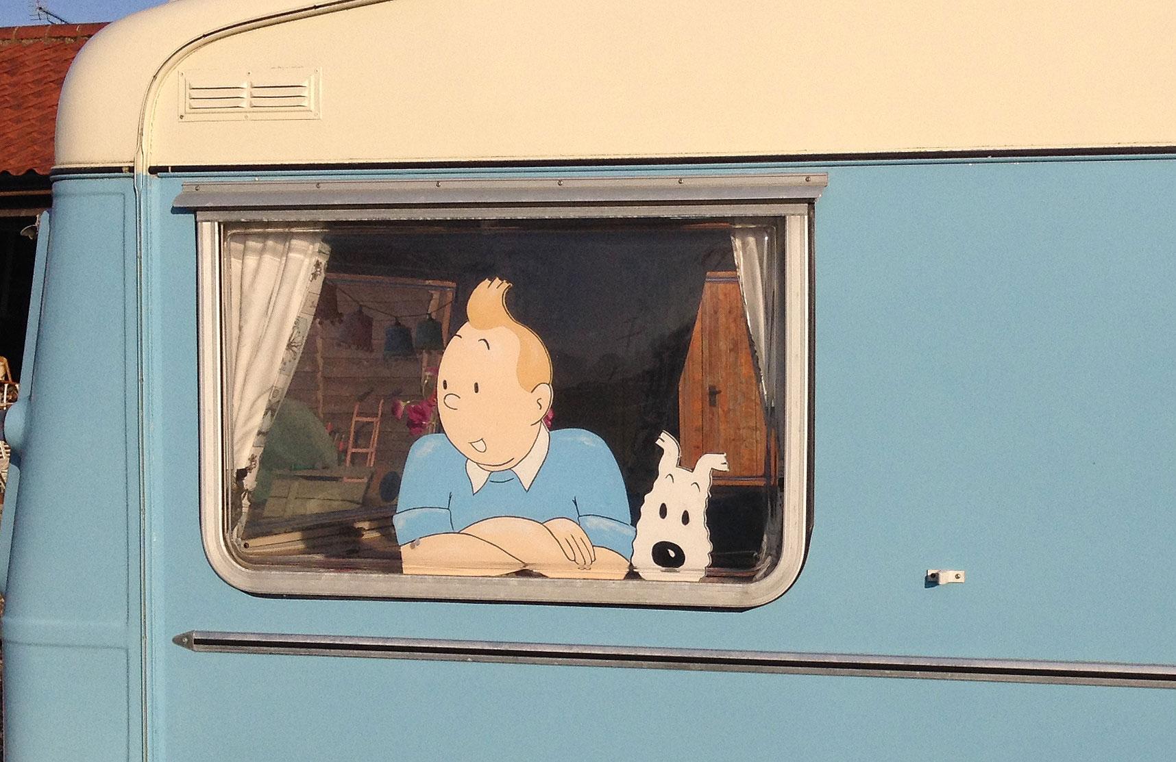 Tintin inside caravan