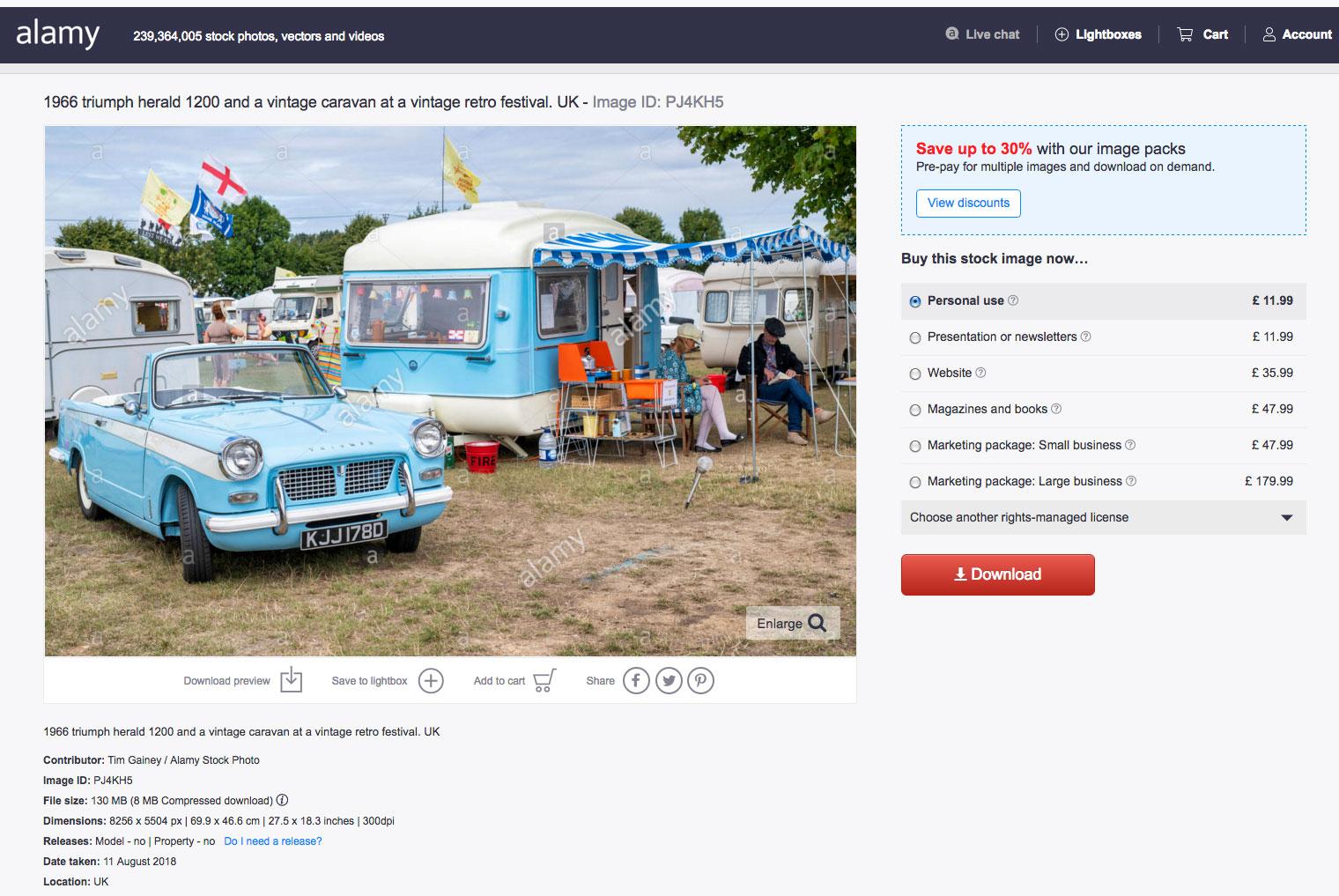 Alamy Stock Photo of Triumph Herald Retro Festival