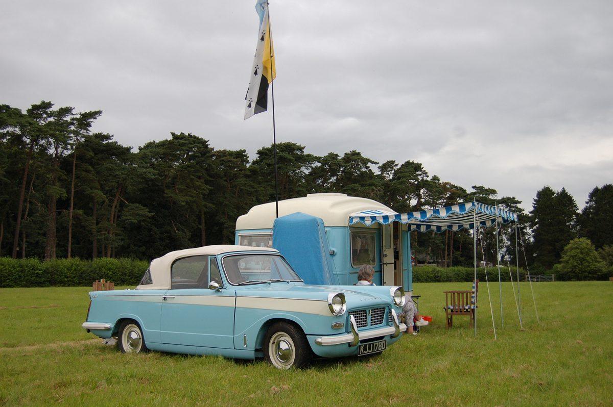 North Norfolk Vintage Transport Day Triumph Herald and caravan