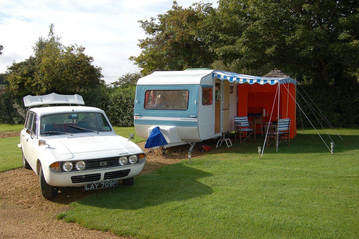 Triumph 2500S estate and classic Sprite Musketeer caravan